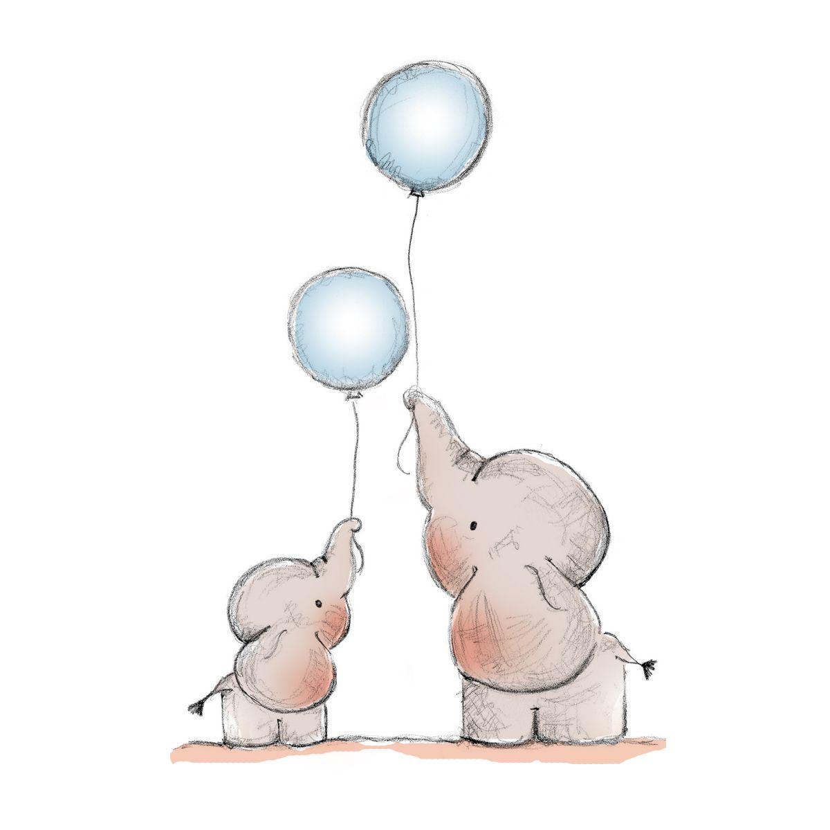 Elephant baby shower invitation, pink floral elephant #42 |Cartoon Baby Elephant Pink